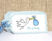Baby Shower Tags, Gift Tags, Baby Boy, Baby Blue, Stork, Handmade Tags, Set of 6