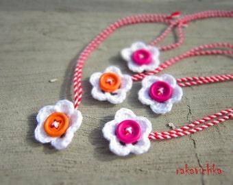 Martenitza 5 Flower Bracelets. Bulgarian Baba Marta Selebration. Fiber Art Pin Jewelry. Red White Spring Blossom. Pink Orange Wood Buttons.