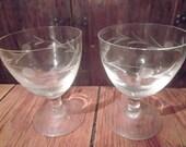 vintage CHAMPAGNE, WHITE WINE glasses, set of 2, midcentury