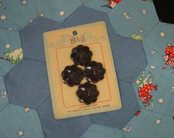 """Nice Vintage Card of Buttons, 4 Navy Plastic Flower Buttons, 13/16"""""""