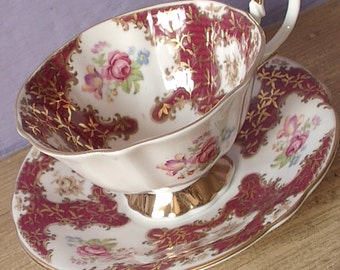 Antique 1950's Queen Anne tea cup, English teacup and saucer, red and white tea cup, bone china tea set, pink roses teacup and saucer