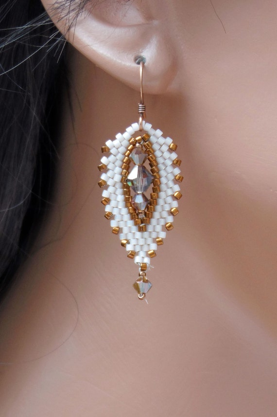 Light Peach and Copper Russian Leaf Earrings - Seed Bead & Crystal Woven - Short Length Drop Style Earring