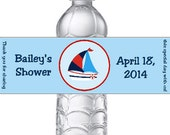 PRINTED 15 Personalized Nautical Baby Shower Water Bottle Labels - Red, Blue, and White Stickers for Shower favors with ship