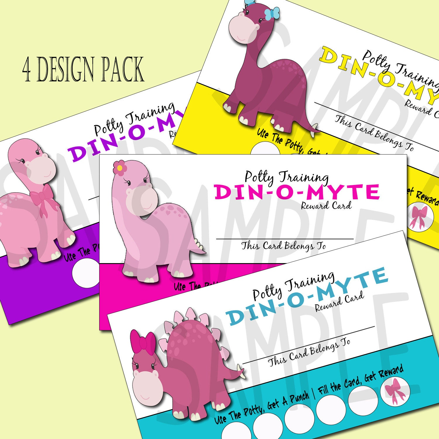 diy potty chart instant printable chore punch card potty punch card incentive program dinosaurs bows girls pink rawr potty training