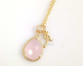 Pink Opal Necklace - Gold Trim Cotton Pink Personalized Initial Bridesmaids Necklace Teardrop Pear Faceted Pendant Prom Christmas Gift