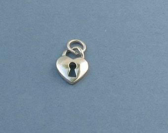 Sterling Silver Heart Lock Charm - 11x14mm - Sold Per Piece - CR3HK