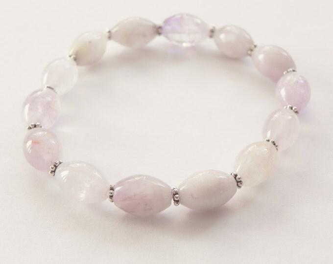 Lavender amethyst and sterling silver gemstone bracelet|gemstone stretch bracelet|amethyst bracelet|sterling silver|february birthstone