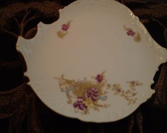 Vintage Odd Shaped Plate with Pansies, Victorian, Country, Cottage Chic, Plate, Floral, Bohemian, Renaissance, Antique, Unique, Romantic
