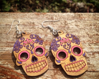 Hand Painted Mexican Sugar Skull - Day of the dead - Earrings