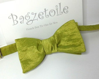 Green bowtie in tafetta fabric / mens / self-tie / for him, freestyle, self tie / adjustable by Bagzetoile - bowties for men