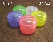 50 FUN COLORFUL semi-transparent plastic cosmetic lip balm sample jars  5 grams