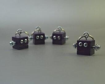 Dark Purple Robot Key Chain, Zipper pull, Functional Art, Back to School