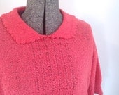 STORE CLOSING Bright Deep Pink Delicate Knit Peter Pan Collar Vintage Sweater