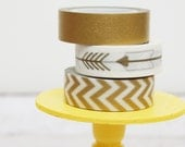 Gold Washi Tape Set Solid Gold / Golden Arrows / Gold Chevron