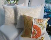 Orange Sunset Dreams Pillow Collection - Designer Pillows -  Two 20 x 20 Inch Three 15 x 15 Inch -  Sunset Orange, Cream, Sunshine Yellow