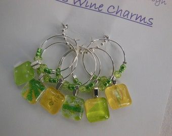 Lime Green Wine Charms - Set of Six - Glass Wine Charms - Hostess Gift - House Warming Gift - Entertaining - Party Time