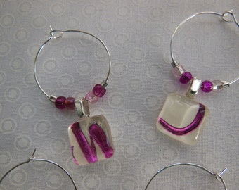 Six Purple Glass Charms -Orchid Foil Wine Charms - Shades of Purple - Lavendar Orchid Fushia - Glass Wine Charms Made by Pillowscape Designs