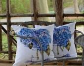 Outdoor Throw Pillow, Cape Cod Hydrangeas