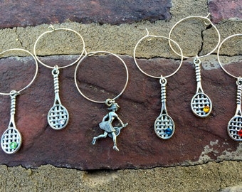 Set of 6 Tennis Anyone.....  tennis racquet wine glass charms for the wine & tennis lover in your life....