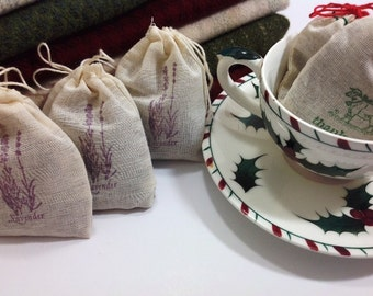 Three Lavender Filled Sachet Bags for Wool Stash, Dresser Drawers, Linen Closets, J870, Rug Hooking Gift, Gift Exchange