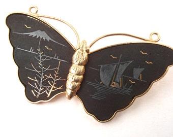 Vintage Butterfly Amita Damascene Brooch Matte Black Pin Gold Tone Japanese Asian Landscape Scene Jewelry Mt Fuji Boat Bird Villacollezione