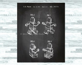 INSTANT DOWNLOAD - 16x20 Lego Figure Patent Sketch Poster - Lego Poster - Patent Print - Kids Room - Man Cave Art