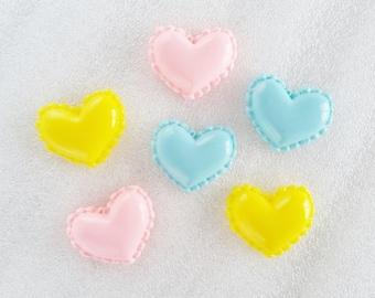 6pcs - Pastel Heart Macarons Flatback Decoden Cabochon (24x20mm) HSW10012