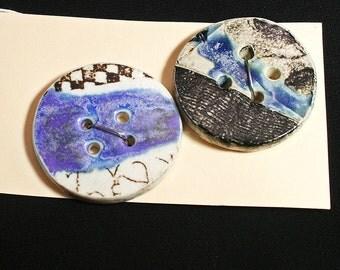 Handmade porcelain buttons, Black graphic, Ceramic, Sewing, Knitting, Weaving, Felting, Designer, Unique, Blue glaze, Embellishment (eb280)