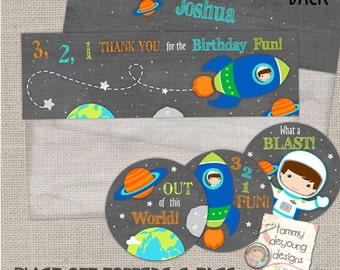 Outer Space Party Treat Bag Toppers and Tags -- Digital Space Birthday Printable- --  2.5 inch circle labels and baggie toppers