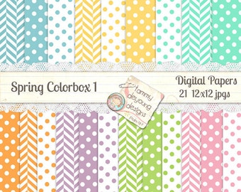 Spring Digital Paper *Easter Pastel Digital Papers* Baby papers for showers, nursery, Easter invitations, birthday,  greeting cards