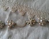 vintage pearl white bride's wedding bracelet cluster beaded earring bracelet