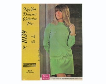 Arlette of Real Julie Christie Petulia Mod Dress 1968 Sewing Pattern Size 6 B 30 1/2 UNCUT New York Designers' Collection Plus McCalls 1039