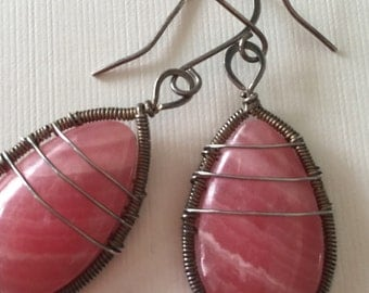 Sale! Reduced from 38.00 to 35.00. Pink rodochrosite cabochons in silver - wire wrapped earrings