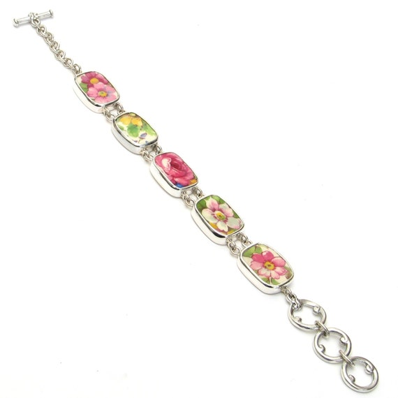 Broken China Jewelry Grimwades Summertime Chintz Pink Rose Yellow Flower Sterling Bracelet