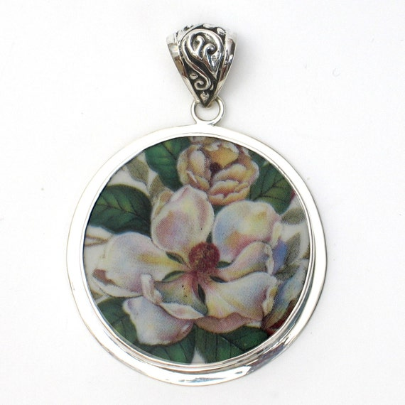Broken China Jewelry Magnolia Flower Sterling Large Circle Pendant