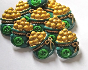 St Pats Pot of Gold Resin Cabochons Embellishment Buttons Set of 2