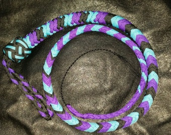 Black, Caribbean Blue, and Purple Signal Whip - Made To Order - Choose Your Size