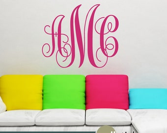 Monogram Wall Decal - Interlocking Script Initials Vinyl Wall Art Decal  Lettering - Wall Decor - College Decor - Girls Decor  - WD0328