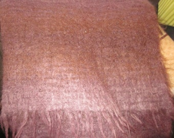 hand woven mohair scarf throw, loosely woven and lovely, fringe, plum color