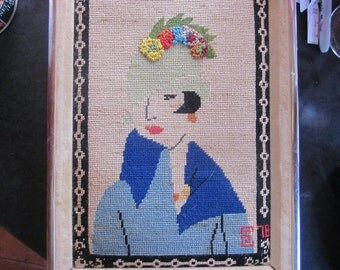 1970's needlework picture of 1920's woman flapper gorgeous