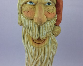 Hand carved Santa Claus ornament wall hanging wood carving Christmas decoration holiday decor OOAK gift for him gift for her collectible art