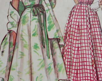 1953 Simplicity Sundress, Short Sleeve Dress & Stole Sewing Pattern 4327, Size 16, Bust 34