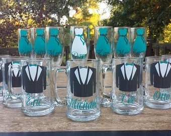 Wedding Party Glasses, Champagne Flutes Glasses and Beer Mug. Bridesmaids and Groomsman Gifts.  Groomsmen Tux Glasses. 1 Glass