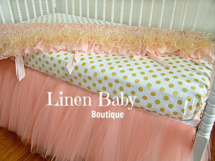 Pink And Gold Tulle Crib Bedding Peach Pink Tulle Baby