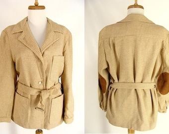 Womens Fall Jacket. vintage L.L. Bean Jacket. Tan Houndstooth Wool. Camel Hair Jacket. Belted w/ Elbow Patches Pads size  M