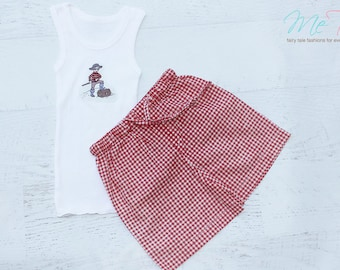 Boys Shorts and singlet set Pirate red gingham