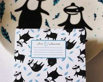 Plans & Endeavours A5 Notebook - Badger Pattern.