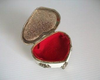vintage ornate heart trinket box  vintage ornate trinket box   vintage Japan jewelry box confection   vintage valentine box   vintage heart