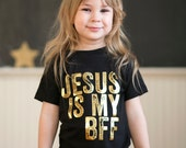 Jesus is my BFF - Gold Foil - girls graphic tee - 2t to 6