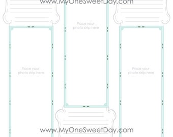 2x6 Photo Booth Guest Book for 8.5x11 pages Mint and Gray theme